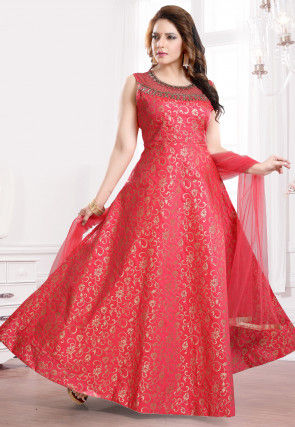 Embroidered Neckline Brocade Abaya Style Suit in Coral Red