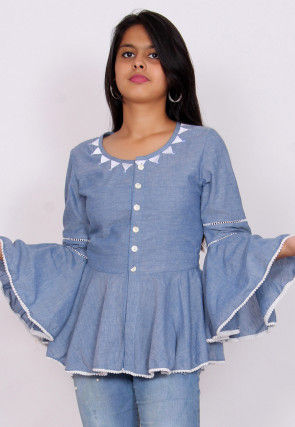 Embroidered Neckline Chambray Peplum Style Top in Light Blue