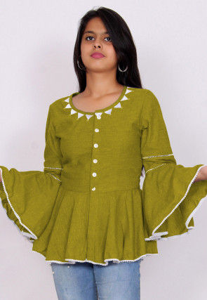 Embroidered Neckline Chambrey Peplum Style Top in Olive Green