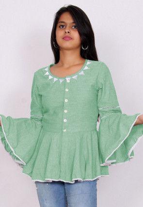Embroidered Neckline Cotton Slub Peplum Style Top in Pastel Green