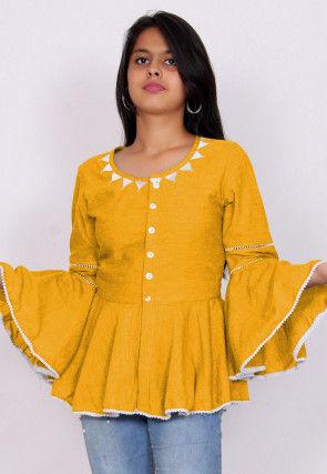 Embroidered Neckline Cotton Slub Peplum Style Top in Yellow