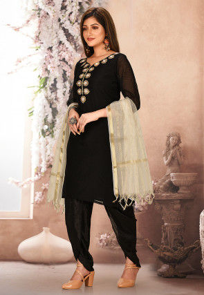 Embroidered Neckline Chanderi Cotton Punjabi Suit in Black