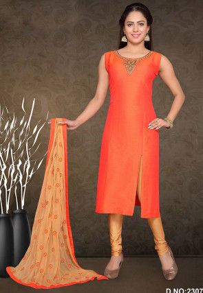 Embroidered Neckline Chanderi Silk Straight Suit in Orange
