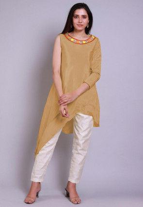 Embroidered  Neckline Chinon Crepe Asymmetric Tunic in Light Beige