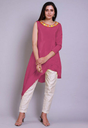 Embroidered  Neckline Chinon Crepe Asymmetric Tunic in Old Rose