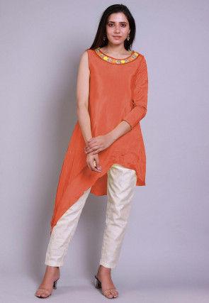 Embroidered  Neckline Chinon Crepe Asymmetric Tunic in Orange
