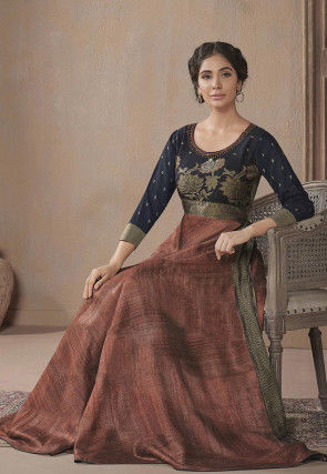 Embroidered Neckline Cotton Blend Gown in Rust and Navy Blue