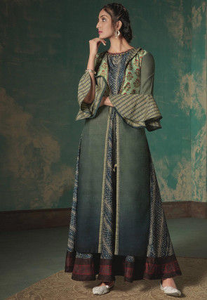 Embroidered Neckline Cotton Jacket Style Gown in Blue and Green