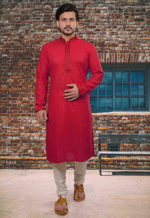 Embroidered Neckline Cotton Jacquard Kurta Set in Red