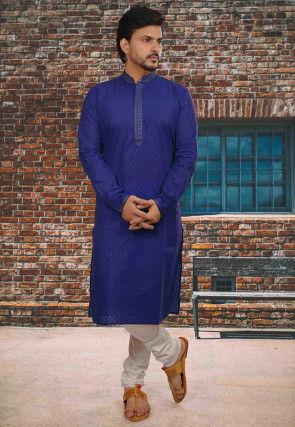 Embroidered Neckline Cotton Jacquard Kurta Set in Royal Blue