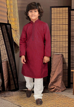 Embroidered Neckline Cotton Kurta Set in Maroon