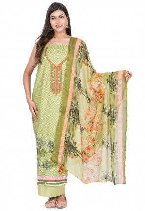 Embroidered Neckline Cotton Pakistani Suit in Light Olive Green