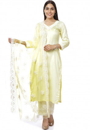 Embroidered Neckline Cotton Satin Pakistani Suit in Yellow