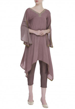 Embroidered Neckline Cotton Silk Asymmetric Tunic Set in Dusty Purple