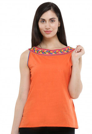 Embroidered Neckline Cotton Top in Orange