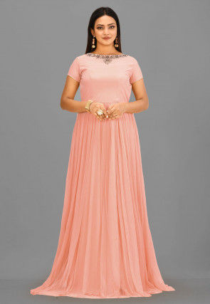Embroidered Neckline Crepe and Net Gown in Peach