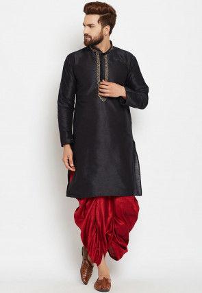 Embroidered Neckline Dupion Silk Dhoti Kurta in Black