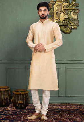Embroidered Neckline Dupion Silk Kurta Set in Light Beige