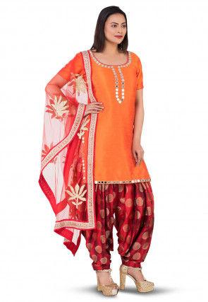 Embroidered Neckline Dupion Silk Punjabi Suit in Orange