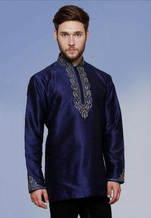 Embroidered Neckline Dupion Silk Short Kurta in Dark Blue