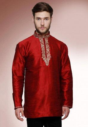 Embroidered Neckline Dupion Silk Short Kurta in Maroon