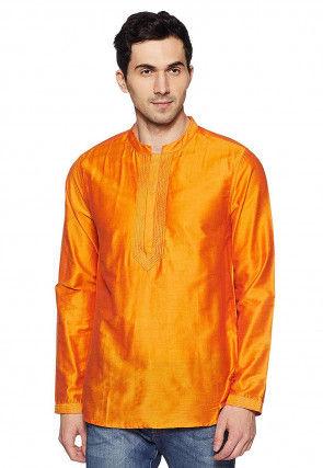 Embroidered Neckline Dupion Silk Short Kurta in Orange