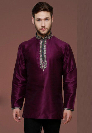 Embroidered Neckline Dupion Silk Short Kurta in Purple