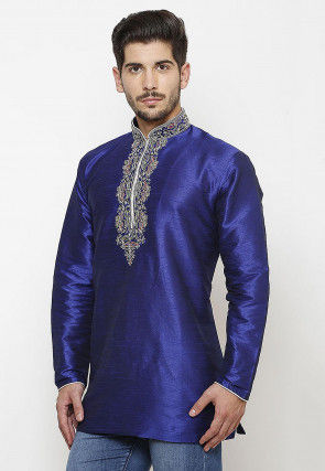 Embroidered Neckline Dupion Silk Short Kurta in Royal Blue