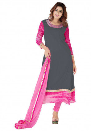 Embroidered Neckline Georgette A Line Suit in Grey