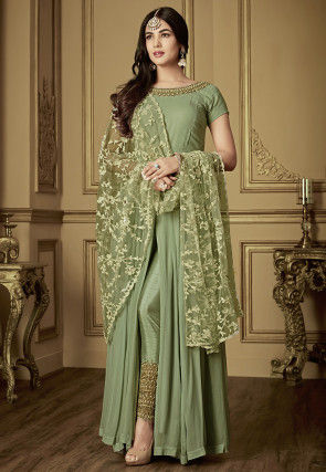 Embroidered Neckline Georgette Abaya Style Suit in Pastel Green