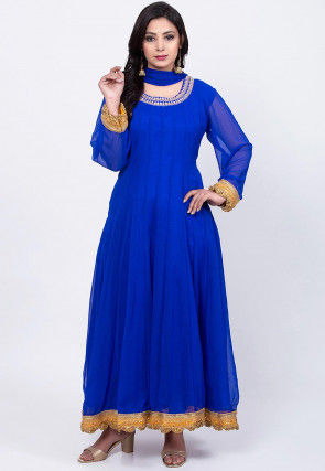 Embroidered Neckline Georgette Abaya Style Suit in Royal Blue