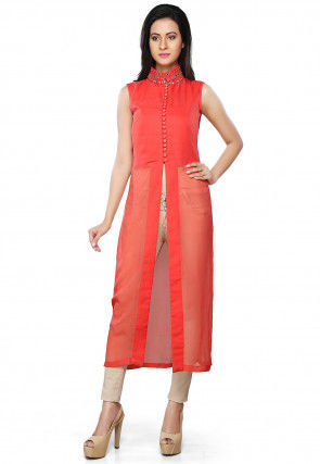 Embroidered Neckline Georgette Front Slit Kurta Set in Coral Red