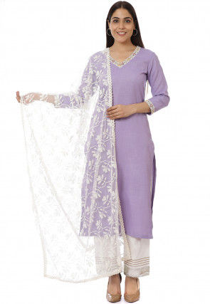 Embroidered Neckline Matka Silk Pakistani Suit in Light Purple