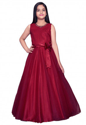 Embroidered Neckline Net Gown in Red