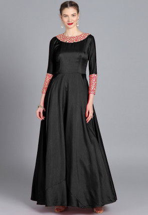 Embroidered Neckline Taffeta Silk Gown in Black
