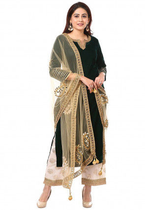 Embroidered Neckline Velvet Pakistani Suit in Dark Green