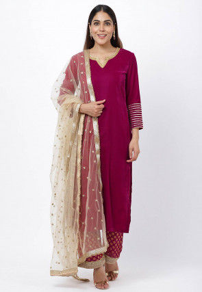 Embroidered Neckline Velvet Pakistani Suit in Magenta