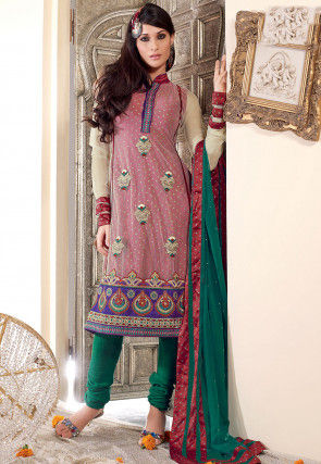 Embroidered Net A Line Suit in Light Beige and Maroon