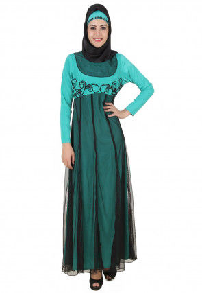 Embroidered Net Abaya in Teal Blue