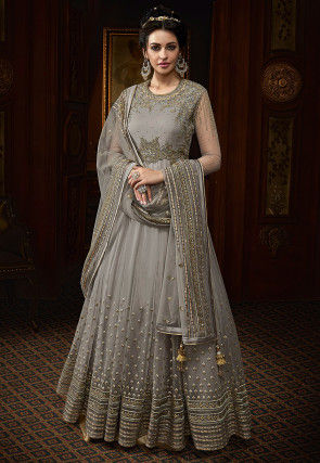 Embroidered Net Abaya Style Suit Grey
