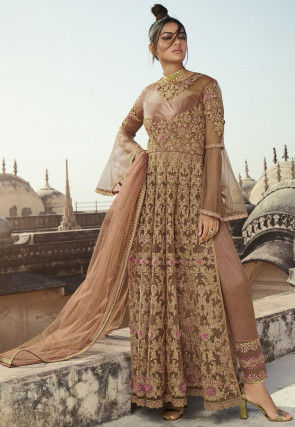 Embroidered Net Abaya Style Suit in Beige