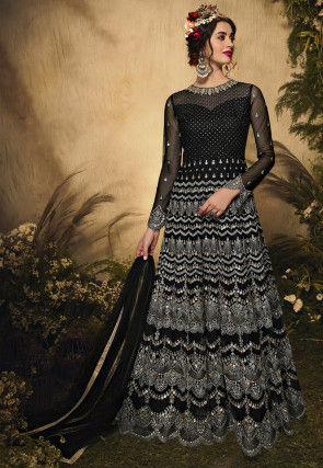 Embroidered Net Abaya Style Suit in Black