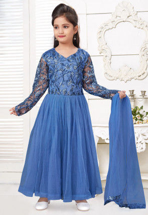 Embroidered Net Abaya Style Suit in Blue