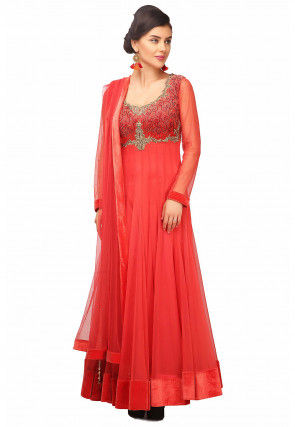 Embroidered Net Abaya Style Suit in Coral Red