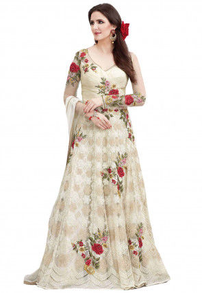 Embroidered Net Abaya Style Suit in Cream