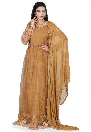 Embroidered Net Abaya Style Suit in Dark Beige