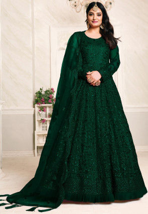 Embroidered Net Abaya Style Suit in Dark Green