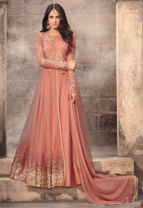 98d9bfb9974 Embroidered Net Abaya Style Suit in Dark Peach