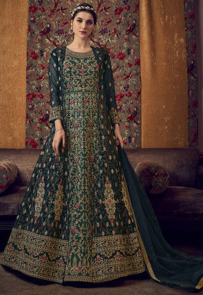 Embroidered Net Abaya Style Suit in Dark Teal Blue