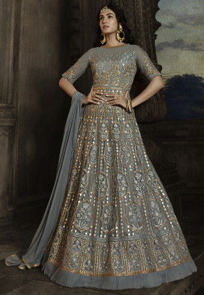 Embroidered Net Abaya Style Suit in Dusty Blue